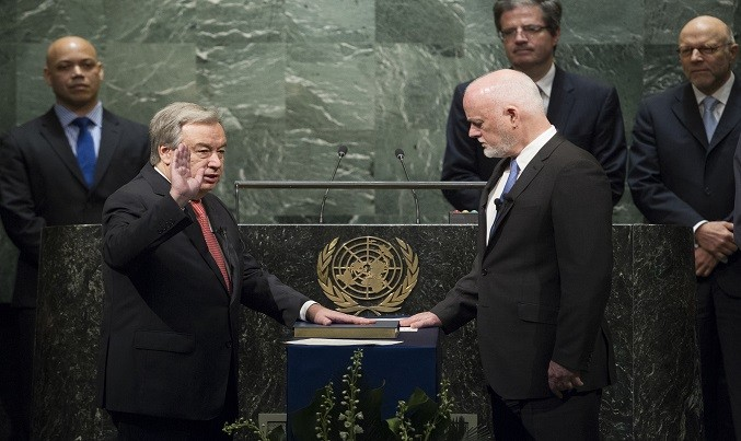 On first day, new UN chief calls for peace